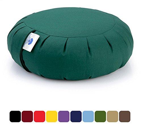 Blue Banyan Zafu Cuscino Meditazione, Cuscino di Supporto (Grano saraceno) - Verde Bosco
