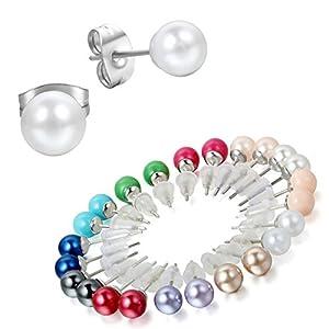 Aroncent 5/6/12 Paar Unisex Ohrstecker Set Edelstahl Imitation Perlen Kugel Ohrringe Ohr Piercing Geschenk für Herren Damen, Schwarz Weiß Silber, 3mm/4mm/5mm/6mm/7mm/8mm