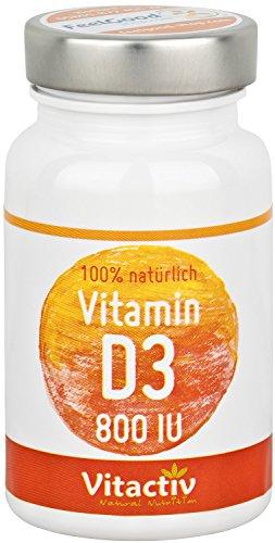 """VITAMIN D3-800 IU - Das \""""Sonnenvitamin\"""" für Knochen, Immunsystem, Muskeln und vieles mehr* - hochdosiert - 100 Tabletten (für bis zu 100 Tage)"""