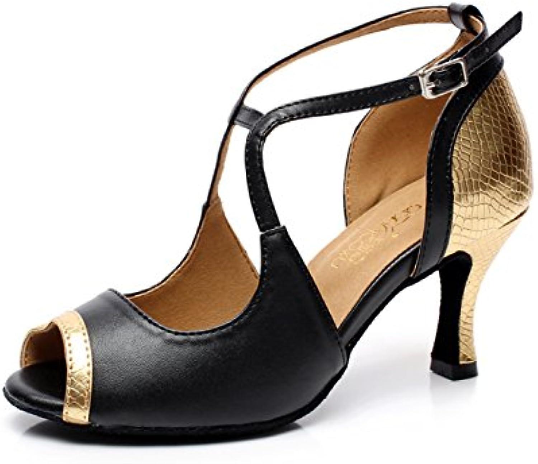 JSHOE Salsa/Tango/Tea/Samba/Modern/Jazz Shoes Sandalias Tacones Altos Para Mujer,Gold-heeled10cm-UK6.5/EU40/Our41
