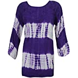 Mogul Interior Bohemian Tunic Top Tie- Dye Embroidered Purple Peasant Blouse Large