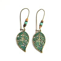 Pu Ran Fashion Women Hollow Leaves Dangle Hook Beads Earring Bohemia Charm Jewelry