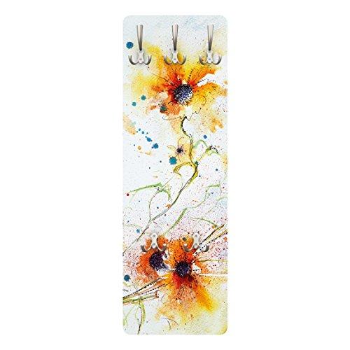 BIlderwelten 79269 Wandgarderobe Painted Flowers | Design Garderobe Garderobenpaneel Kleiderhaken Flurgarderobe Hakenleiste Holz Standgarderobe Hängegarderobe | 139x46cm