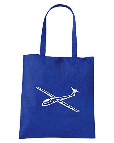 T-Shirtshock - Borsa Shopping FUN0518 aircraft clipart diecut decal 08 95931 Blu Royal