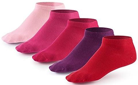10 Paar Sneaker Socken von Mat & Vic's für Sie und Ihn - Cotton classic - 35 36 37 38 39 40 41 42 43 44 45 46 47 48 49 50 - bequem ohne drückende Naht - angenehmer Komfort-Bund - entspricht OEKO-TEX Standard 100 (43-46, Berry Colors / rosa /