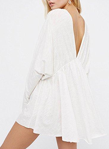 Azbro Women's Deep v Neck Long Sleeve Backless Mini Dress white