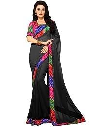 Rajeshwar Fashion Women's Georgette Printed Saree With Unstitched Blouse Piece (GREY PRINT LIBERTY PRI_Free Size)