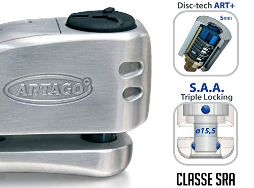Artago 32S1 Candado Antirrobo Disco Con Alarma 120Db Alta Gama y Soporte para Las Bmw Gs R1250Gs, R1200Gs, F850G, Acero Inoxidable