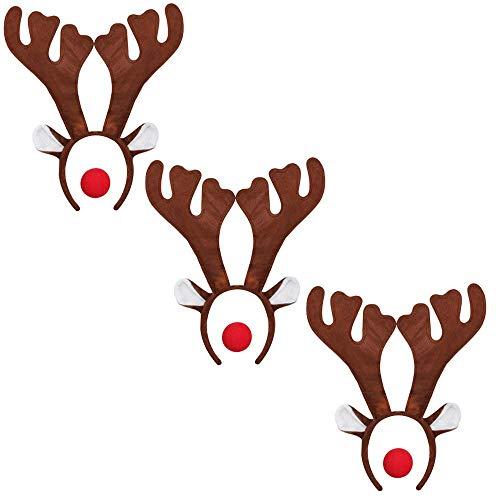 ILOVEFANCYDRESS 3 Rudolf RED Nose Santa Rentier HÖRNER GEWEIHE MIT 3 ROTEN Schaumstoff NASEN = Betriebsfeier Weihnachten Xmas Schlitten KOSTÜM VERKLEIDUNG Fasching - Rot Cupid Kostüm