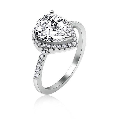 Uloveido Einzigartige Sterling Silber Solitaire Ringe, Birne Form Weiß Cubic Zirocnia Halo Ringe, Mode Frauen Hochzeit Engagement Schmuck Größe 54 (17,2) JZ116 (Halo Diamant Versprechen Ringe)