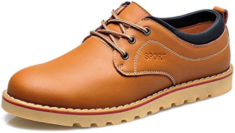 GTYMFH Herbst Herren Casual Lederschuhe Leder Jugend Lace Up Herrenschuhe Mode England Atmungsaktive Schuhe Yellow brown 38