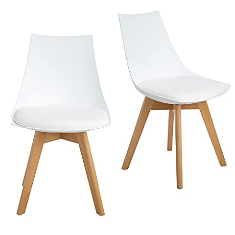 LUOJI Set of 2 retro dining chairs Diamond Chair Solid wood stones Cushion Seats without arms Kitchen for Kitchen, Dining Room, Badroom, Cafe. Blanc