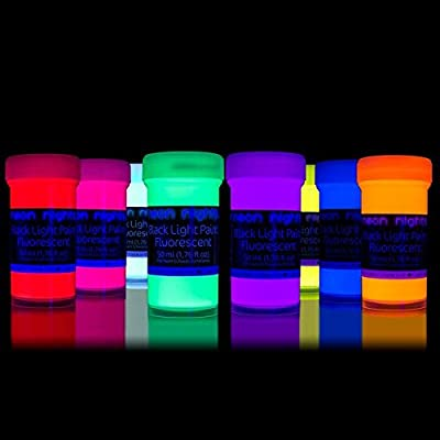 neon nights Ultraviolet | UV | Black Light | Fluorescent Glow Wall Paint - Set of 8