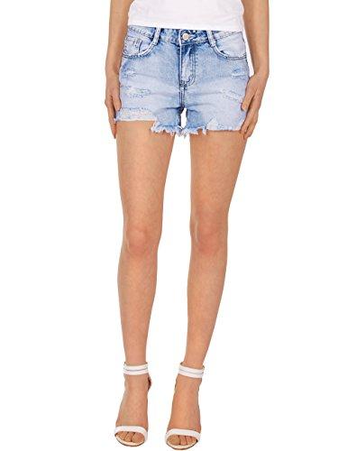 Fraternel Damen Jeans Hose Hotpants Shorts Destroyed Hellblau XL / 42 (Rise Pocket Five Shorts Low)