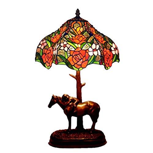 Tiffany-stil-rote Rose (Tiffany Stil rote Rose Glasmalerei Schatten Tischlampe 12 Zoll antike Schreibtischlampe mit Pferd geschnitzten Harz Basis, neben Wohnzimmer Schlafzimmer Dekor Lampe)