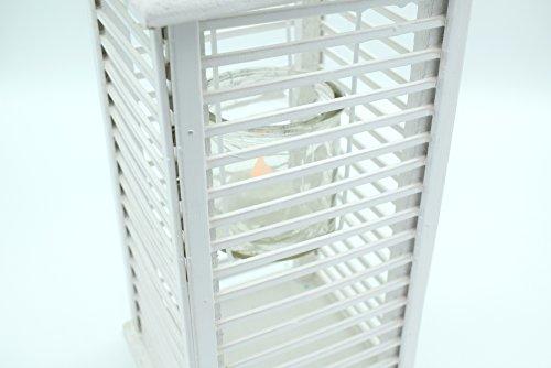 E Trade Lanterna a LED in Vimini e Rattan, Colore Bianco - 5