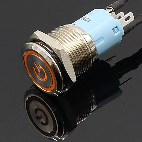 elegantstunning 16 mm 12 V Métal Self-Reset à Verrouillage de Verrouillage de Bouton Poussoir Interrupteur d'alimentation LED commutateur