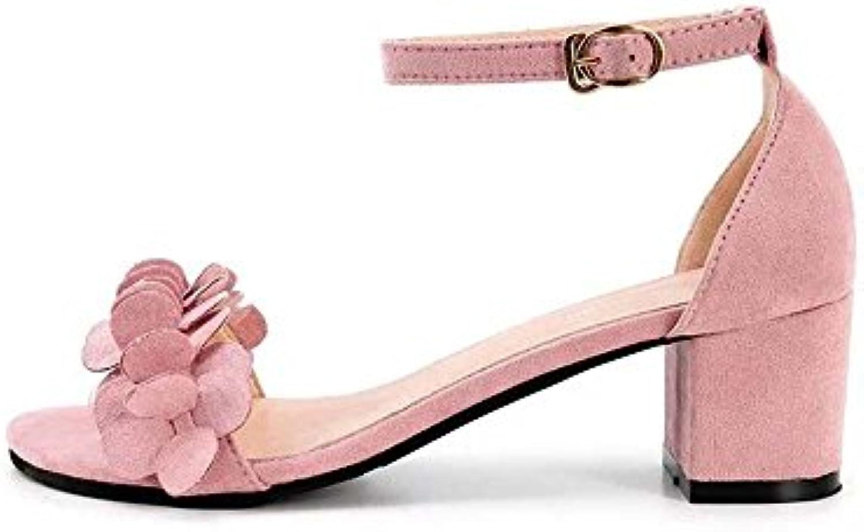 Tingtingbin Sandalias femeninas Zapatos De Mujer De Verano Damas Sandalias De Tacón Tacones Hebilla,Rosa,5.5 -