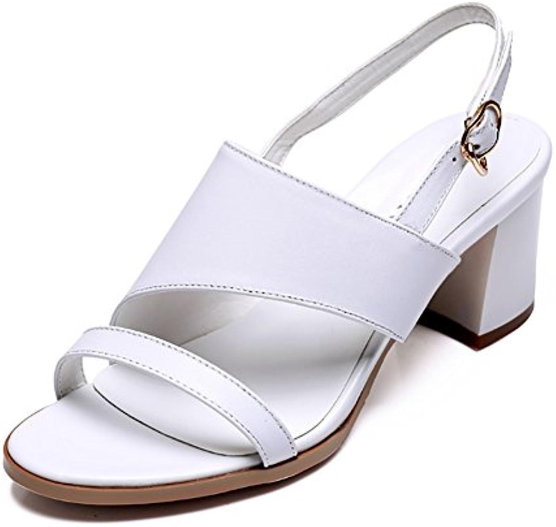 Sandalias ZCJB Talones De Cuero Talón Tacón Alto Mujer Verano Simple Dedo Abierto Palabra Hebilla De Zapatos De...