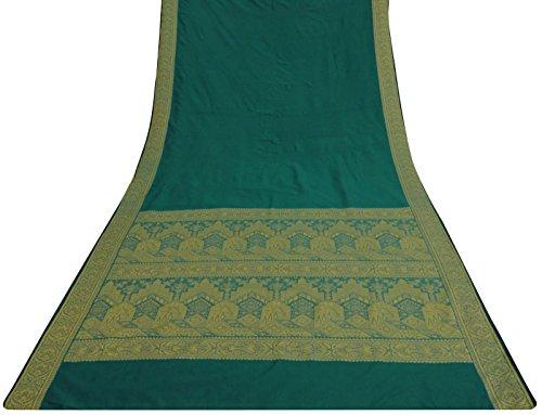 Ethnische Jahrgang Indian Green Art Silk festes Muster Gebrauchte Sari Craft Fabric 5 (Fuß Bollywood Dekorationen)