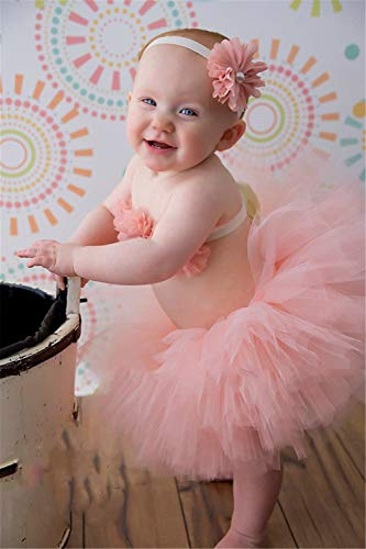 ZZHK Fotografie Kostüm Requisiten, Kinderröcke, dreiteiliges Kleid mit Haarband für Fotostudio und Familie,Pink