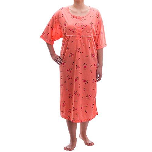 Lucky - Camicia da notte estiva a maniche corte, stampa floreale, taglie: 3XL-6XL, in jersey, toni pastello corallo XXXXX-Large