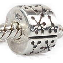 """Andante-Stones - original, plata de ley 925 sólida, cuenta de plata con cierre a presión, elemento separador, """"Dientes"""", elemento bola para cuentas European Beads + saco de organza"""