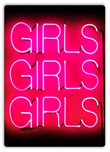 Tarfy Girls Girls Girls Neon Decoración de Pared Retro Vintage Cartel de Chapa Decoración Bar Café Café Barbacoa Tienda