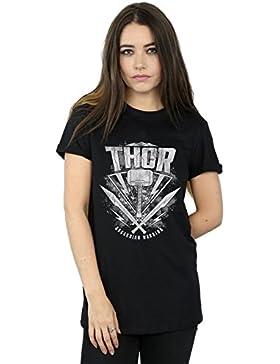 Marvel Mujer Thor Ragnarok Hammer Logo Camiseta del Novio Fit