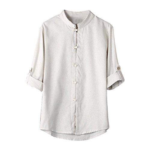 Zolimx, uomo t-shirt, uomini top, men botton camicia manica corta, uomo classico camicia top tang suit 3/4 manica camicetta di lino, quattro colori da scegliere (l, bianco)