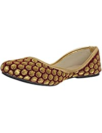 AMPEREUS Women's Ethnic Belly mehroon Color with Golden Color Embroidery