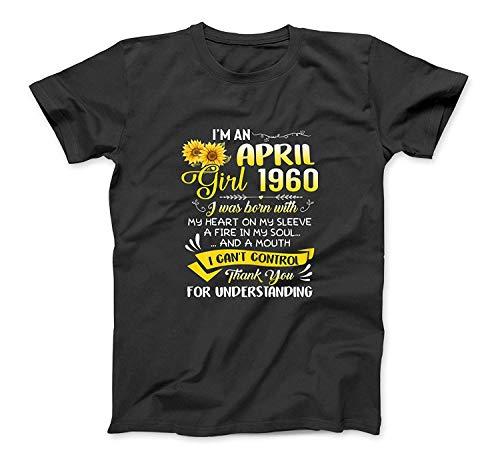 Ich bin ein Mädchen April 1960 Sunflower 60. Geburtstags-Geschenke T-Shirt SweatshirtHoodie Tank Top für Männer Frauen Kinder