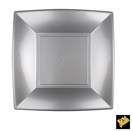 Nice Assiettes Plate Plastique PP cfz 25pz 230 mm argent