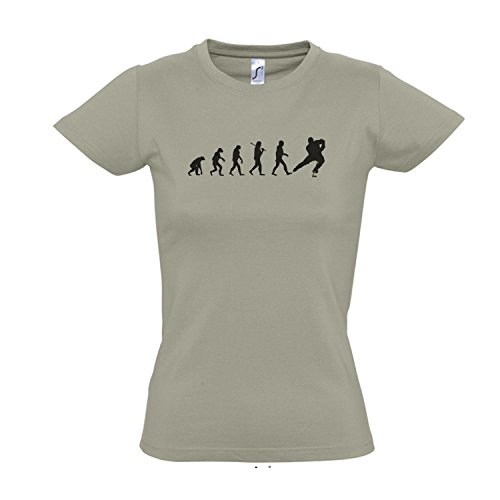 Damen T-Shirt - EVOLUTION - Eishockey Sport FUN KULT SHIRT S-XXL Khaki