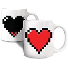 taza térmica con una termoreactivo taza del corazón del pixel