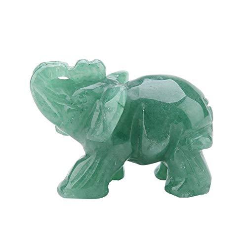 Hilitand Figuras de Elefantes de Cristal, 2 Pulgadas de Jade Natural Tallado...