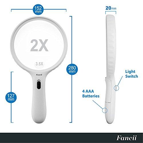 Fancii große Leselupe Lupe mit LED Licht und 2-fach 3,5-fach Vergrößerung - Grosse 138mm Beleuchtet Handlupe für Senioren zum Lesen - 5
