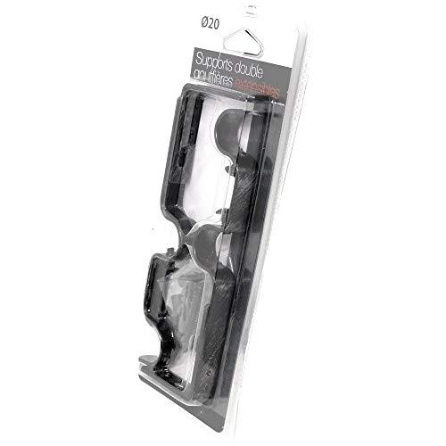 Meilleures ventes - Supports pour tringles à Rideaux Doubles gouttières Ø 20 mm, entraxe réglable Ajustable Extensible de 165-190 mm, Couleur Noir argenté, (1 Lot de 2 Supports de tringles)
