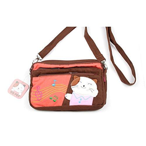 Kleine Umhängetasche Kosmetiktasche für Kinder mit Katze und Noten (dunkelblau) braun