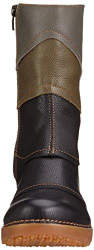 El Naturalista Nc47 Soft Grain/ Tricot - Stivali Corti Donna Multicolore (BLACK-KAKI-GRAFITO NV5)
