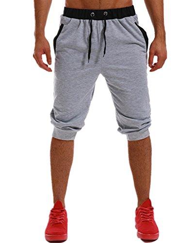 8e273fb1d1c MODCHOK Hombre Pantalones Cortos Bermuda Jogging Bolsillos Deportivo Casual  Cordón Gris Claro M