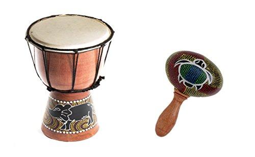 30cm Kinder Djembe Trommel Bongo Drum Holz Bunt Elefant + Rassel Schildkröte R1
