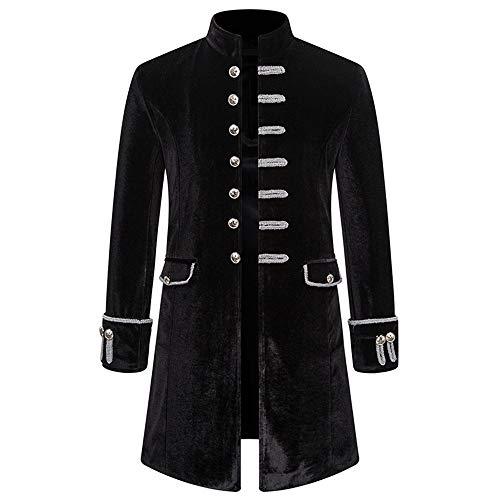 BEIXUNDIANZI Mantel Jacke Männer Langarm Gothic Gehrock Uniform Kostüm Party Oberbekleidung Langer Uniformkleid Vintage Punk Stil Karneval Uniform Cosplay Kostüm Outwear Black XL