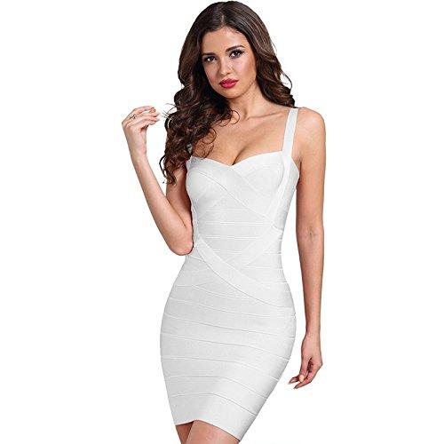 SHUCHANGLE Frauen Bandage Kleid Farbe Gelb Schwarz Lila Weiße Dame Dance Club Party Kleider, Weiß, M -