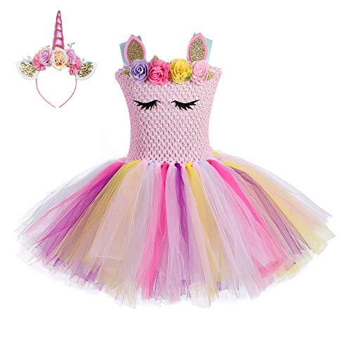 225078804955 FONLAM Vestido de Bautizo Fiesta Niña Disfraz de Unicornio Princesa Tutú  Vestido Infantil Flores Carnaval Niña