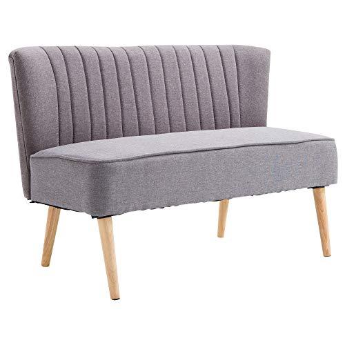 HOMCOM 2-Sitzer Couch Stoffsofa Polstersofa Sitzmöbel Holz hellgrau 117 x 56,5 x 77 cm