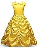 NNJXD Niñas Vestido Largo De Fiesta De Cosplay Disfraz De Carnaval para Princesa Tamaño (120) 4-5 años Amarillo