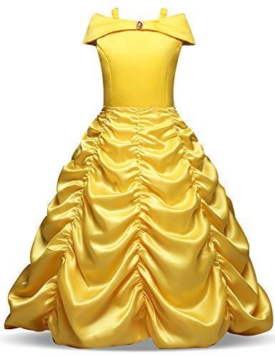 NNJXD Mädchen Belle Kostüme Karneval Verkleiden Sich Prinzessin Halloween Party Kleider Ggröße (150) 7-8 Jahre Gelb