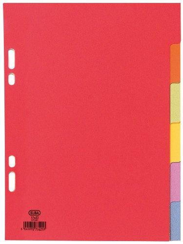 ELBA Karton-Register, blanko, 170 x 220 mm, farbig, 6-teilig VE = 1