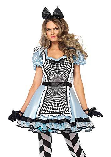 Leg Avenue 85533 2 teilig Set Hypnotic Alice, Damen Karneval Kostüm Fasching, M, blau und schwarz